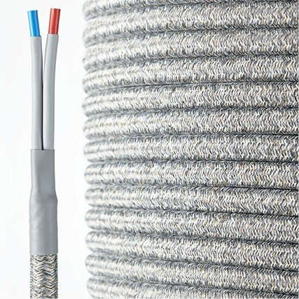HQ textile speaker cable grey-white  2 x 4 mm²