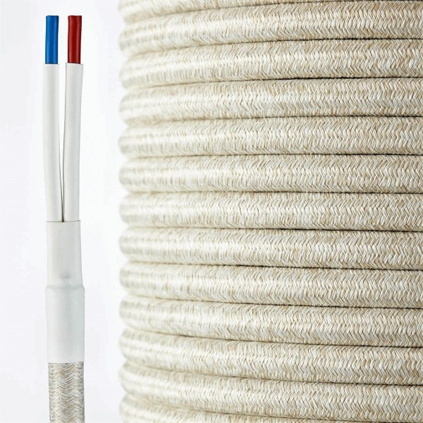 HQ textile speaker cable natural-white  2 x 4 mm²